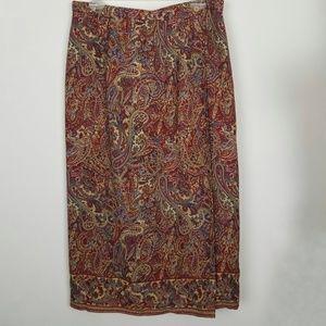 Talbots 14 Silk Paisley Faux Wrap Maxi Skirt